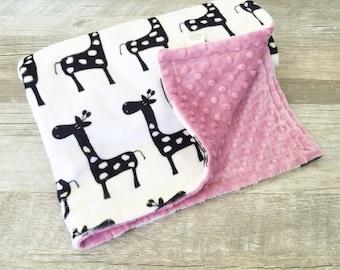 Minky Baby Girl Blanket, Giraffe Minky Blanket, Baby Girl Gift, Black and White, Boho Chic Blanket, Rose Crib Blanket