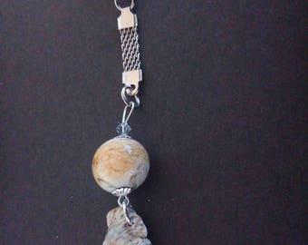 Door - key silver metal - shell and Lampwork Glass Bead