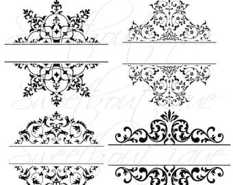 4 Digital Borders Frames Ornate Retro Vintage Wedding Bridal Shower Decorations Supplies Clip Art Clipart Scrapbooking Craft Supply 0063