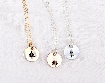 Tiny Pine Tree Necklace | Sterling Silver | 14k Rose Gold Filled | 14k Gold Filled | Hand Stamped | Minimalist Jewelry
