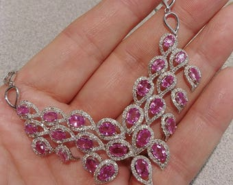 14k Gold 30ct Diamonds Pink Sapphires Necklace 30 Grams One Of A Kind Exeptional