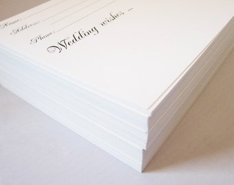 4x6 Heavy Duty Wedding Guest Book Cards - Black and White - Name and Contact Info for Guests