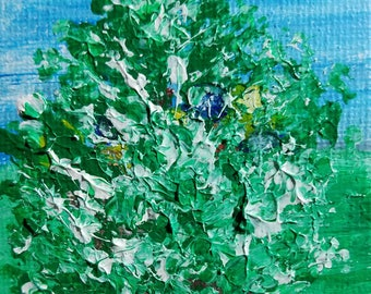 Snow Covered (Miniature Acrylic Painting with Easel)