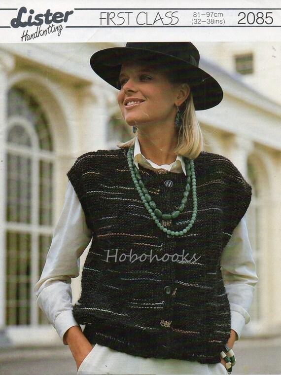 Ladies Knitting Pattern Ladies Waistcoat Ladies Sleeveless