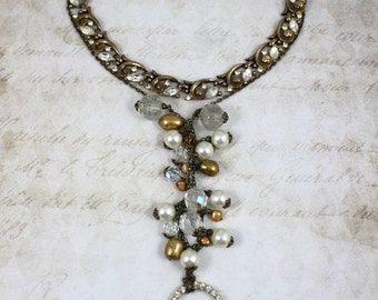 Vintage Assemblage Pearl and Crystal Necklace, Vintage Long Heart Pendant Necklace, Rhinestone Heart Necklace, Assemblage Trifari Necklace