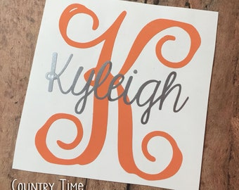 Name Decal | Initial Monogram Decal | Personalized Decal | Yeti Decal | RTIC Decal | Monogram Decal | Car Decal | Vinyl Decal | Initial