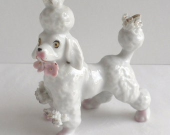 Porcelain Spaghetti Poodle in Standing position with Pale Pink Flowers from Japan 1950s