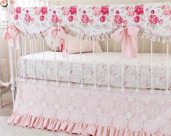Girl Baby Bedding Set with Pink Lace Crib Skirt | Pink Shabby Chic Roses Nursery Bedding | Girls Floral Crib Set - Vintage Chic Crib Bedding