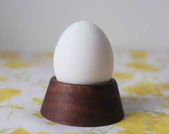 Pair of Walnut Egg Cups - dark wood set