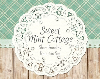 Country Doily Shop Branding Banners, Avatar Icons, Business Card, Logo Label + More - 12 Premade Graphics Files - SWEET MINT COTTAGE