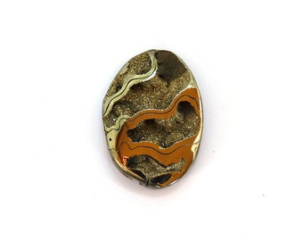 Fossil Ammonite with Nautral Pyrite Druzy Designer Cabochon Gemstone 27.5x38.6x7.0 mm 56.5 carats Free Shipping