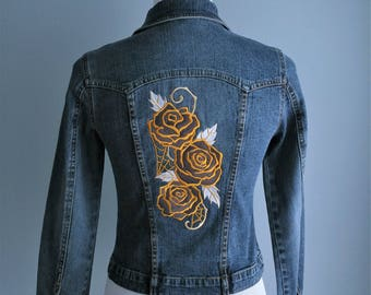 Embroidered Denim Jacket - Harlequin Roses, Upcycled Wearable Art
