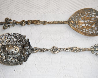 REDUCED - Vintage Two loving spoons in metalwork - brass and silver metal