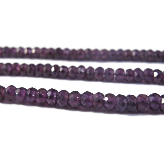 Special Dark Amethyst Beads, 3.5mm - 4mm Faceted Rondelles, 13 Inch Strand, Gemstone Beads, For Necklace, Jewelry Supplies (R-Am1)