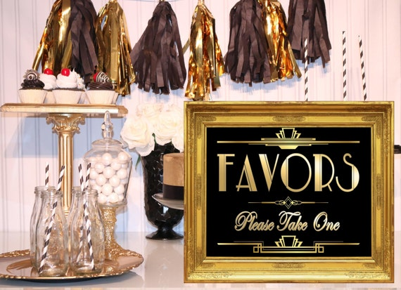 Costco Print Sizes >> PRINTABLE Favors SignGatsby party decoration Roaring 20s Art