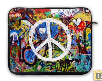 Graffiti Peace Sign iPad Case, Laptop Bag, Laptop Case, Laptop Sleeve, iPad Sleeve, MacBook Case, Tablet, Neoprene - Peace Sign Graffiti