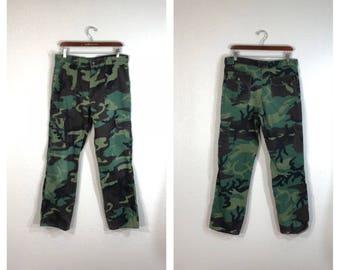 70's vinvage camouflage hunting cargo pants talon zipper size w34