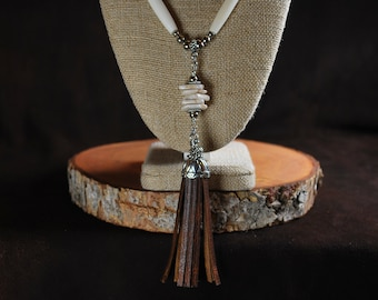Buffalo Tassel Necklace with Magnesite