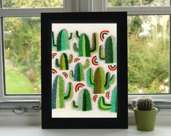 Cacti and Rainbows Print // Hand Embroidery // A4 Print // Illustration // Wall Art