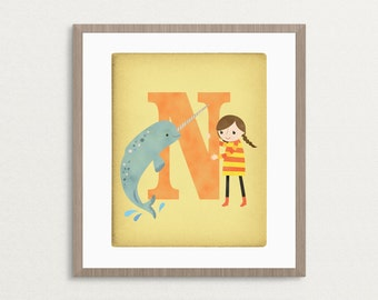 N is for Narwhal - Customizable 8x10 Alphabet Art Print