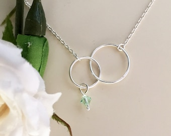 DOUBLE CIRCLE pendant necklace Swarovski birthstone charm INFINITY symbol Double Rings silver eternity necklace Two Connected Linked Circles