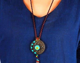 Ethnic necklace, ethnic necklace, ethnic jewelry, Long Boho pendant.