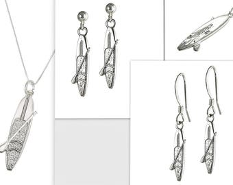 Set SUP Sterling Silver Jewelry Necklace Earrings Stand Up Paddle Board Tri Fin Racer Model 2247 - 2248