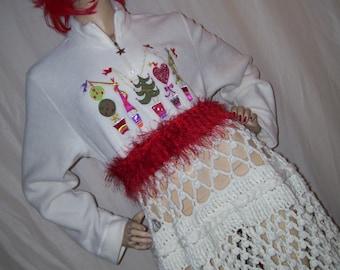 Kitsch Christmas Dress Peek a Boo Crochet Skirt Gold Red White Geek Ugly Sweater Party Dress Adult  M L XL Fuzzy Hippie Geek Holiday Dress