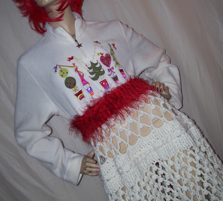 Kitsch Weihnachten Kleid Peek ein Boo häkeln Rock Gold