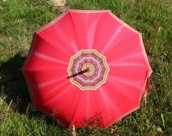 Vintage Red Umbrella Unique Umbrella Retro Rain Or Sun Umbrella Vintage Parasol Hand Carved Umbrella Handle