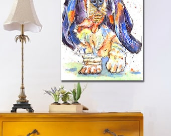 Basset Hound Dog POSTER Print of Original Watercolour Watercolor Painting by Josie P. UK ONLY
