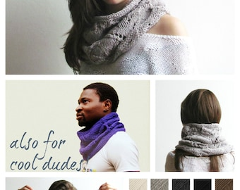 Scarf cowl Beige   Grey /  Knitted scarves / Light marble  tube scarf / spring scarf