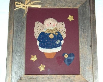 Patchwork Art Angel Professionally Framed in Barn Wood Frame Country Style