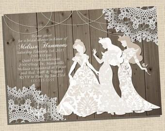 Rustic, wooden, vintage Disney Princess (Belle, Aurora) Silhouette Bridal Shower Invitation (5x7) - DIGITAL FILE