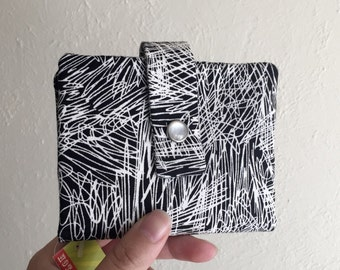 Midsize Cash and Card Wallet with Change pouch- Black and White Scribbles