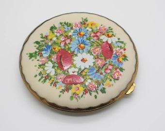 Celluloid Vintage Brass Tone Flower Pattern Mirror Powder Compact