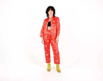 90s Red & Gold Chinese Two Piece 2 Pce Set / Jacket Kimono Top and High Waist Pants / Tapered Trousers COMBO