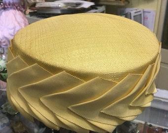 Yellow vintage  pill box hat