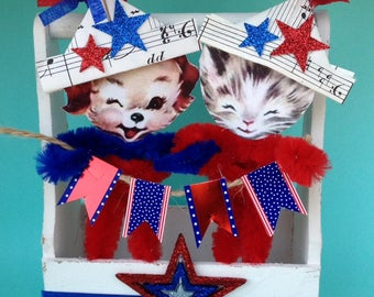 Fourth of July Decoration Independence Day Ornament Chenille Kitten And Dog July 4 Patriotic