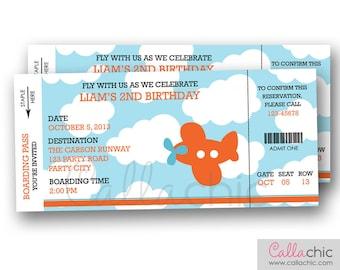 Airplane Boarding Pass Ticket Invitation PRINTABLE - Aeroplane Plane Boy Birthday Party - Blue Orange / Red