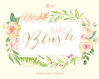 Blush. 7 Watercolor Frames, peach, cream, pink, bridal, flowers clipart, peony, wedding invitation, greeting, sign, floral, spring, shower