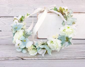 Ivory and aqua flower crown, Flower headband, wedding flower crown, bridal flower crown, bohemian flower crown, Woodland wedding headpiece