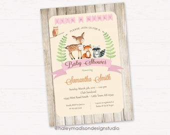 Woodland Baby Shower Invitation, It's a Girl, Rustic Style Invitation, Forest Friends Invitation DIGITAL FILE HM112