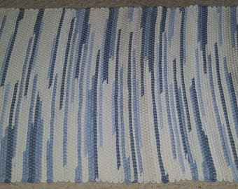 Blue and White Rag Rug with Hem