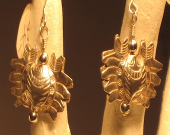 Silver Karen Hill Tribe Crabs and Amazonite Pierced Earrings