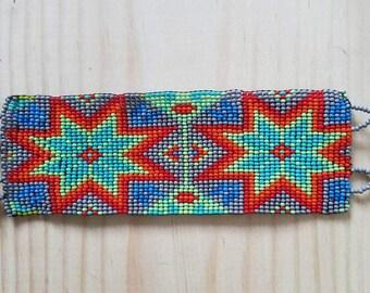 Gift for him, Gift for her, mens bracelet, Seed Bead bracelet, Tribal bracelet, huichol bracelet, festival bracelet, loom bracelet