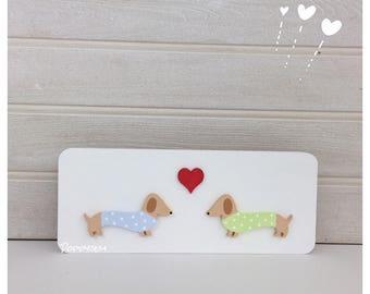 Sausage Love! Dachshund , weiner dog, sausage dog, plaque