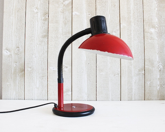 Red desk lamp vintage red lamp retro desk lamp industrial