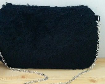 Plush bag, plush clutch, black clutch, black bag,black purse,black plush bag,chain bag, plush handbag, soft bag, fur bag, fur clutch, kawaii