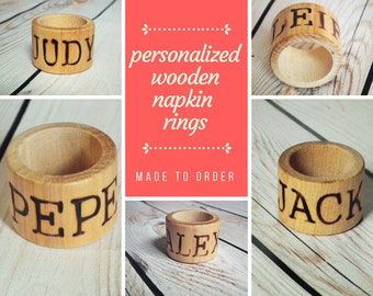 Personalized wood napkin rings with your name choice, rustic wedding decor, wood home decor, minimalist napkin rings, place card alternative